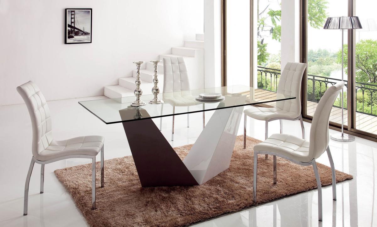 Luxury Rectangular In Wood Clear Glass Top Five Piece Modern Dining Newark Ne