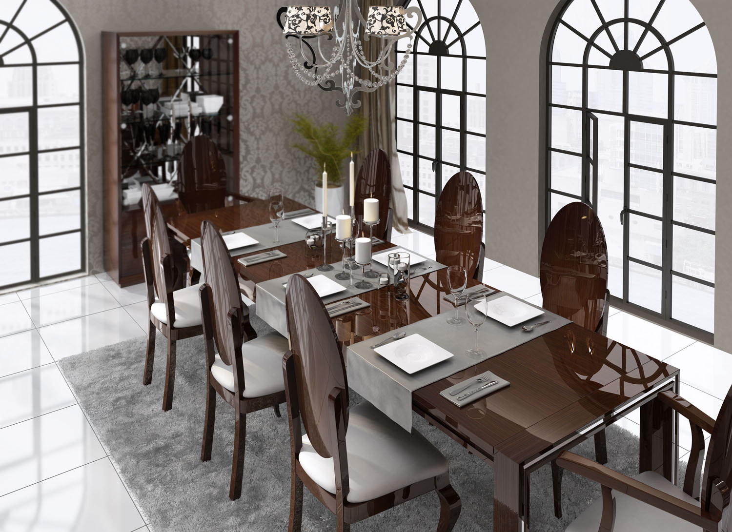 luxurious rectangular in wood fabric seats complete dining
