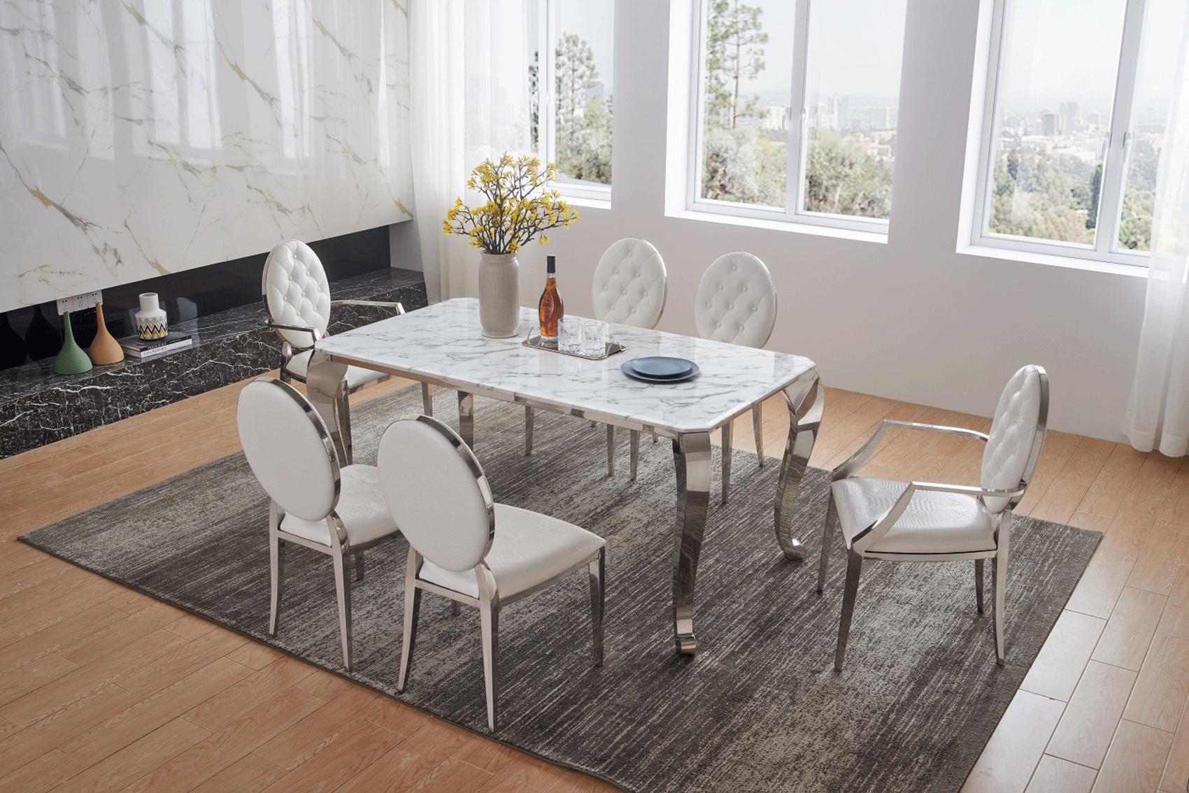 Luxurious Rectangular Marble Leather 5 Pc Kitchen Set Contemporary