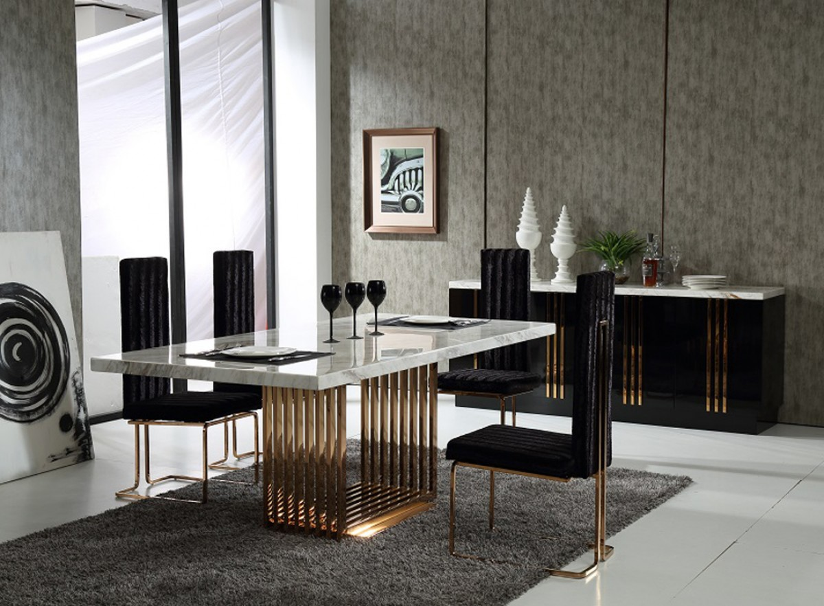 Perfect marble top and rose gold base dining table san for Designer dinette sets