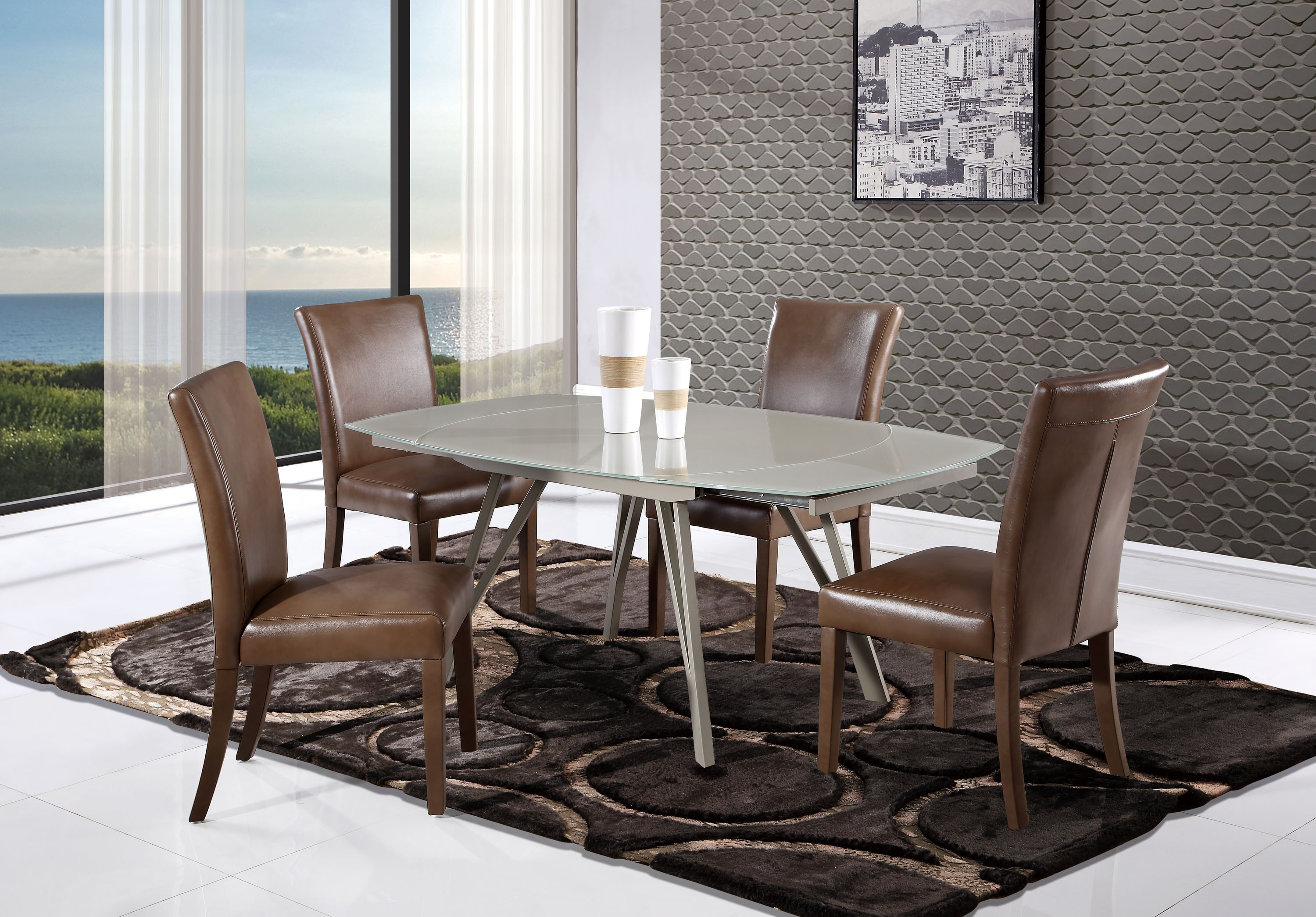 Modern champagne glass swivel extension dining table with for Rotating dining table