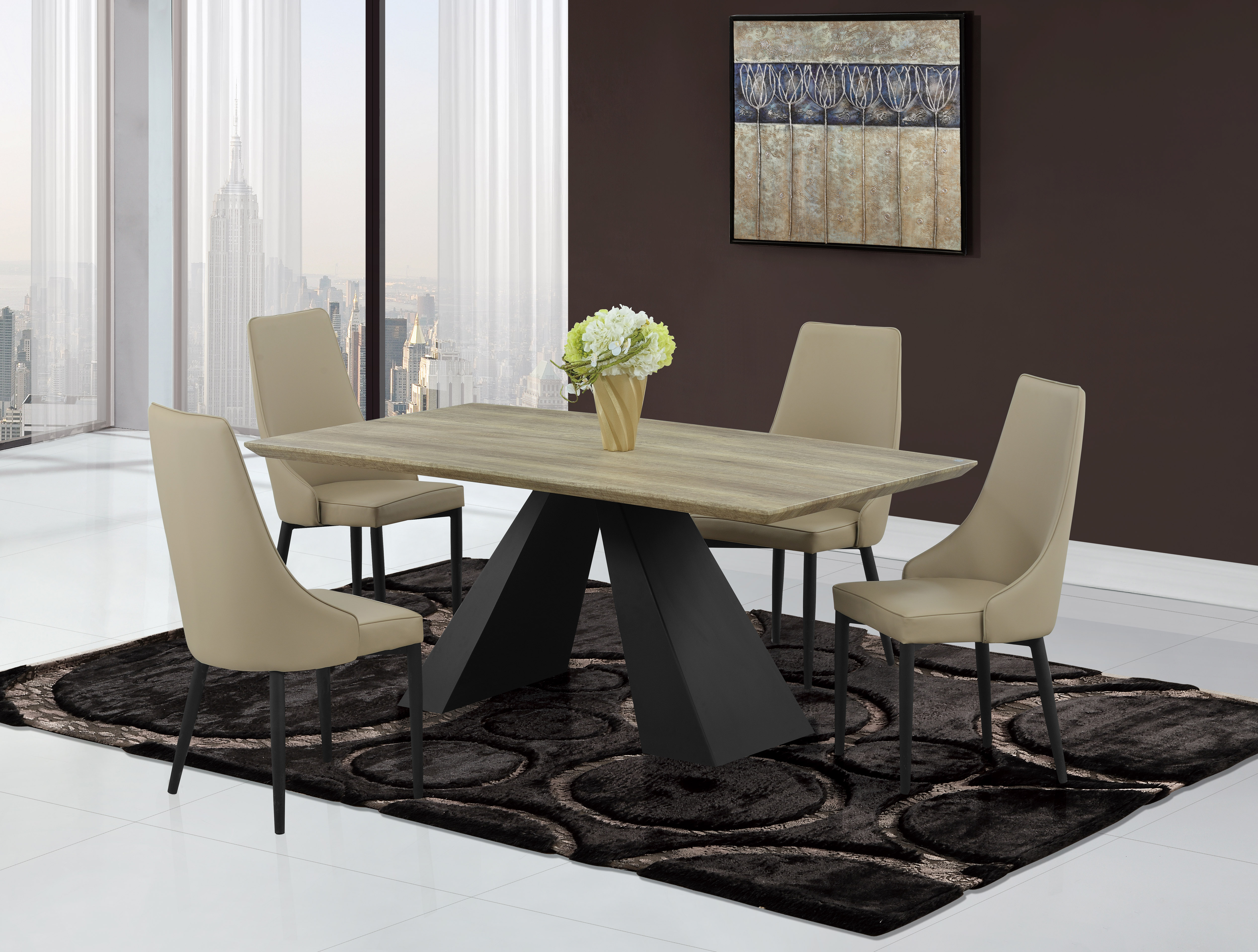 Modern Khaki Dining Table With Black Base And Khaki Chairs