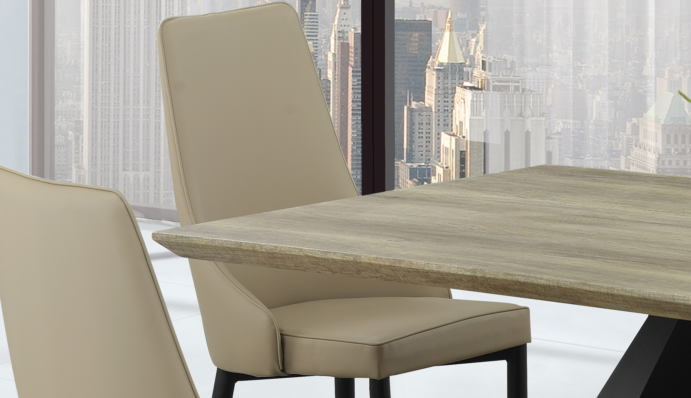 Modern Khaki Dining Table with Black Base and Khaki Chairs - Click Image to Close