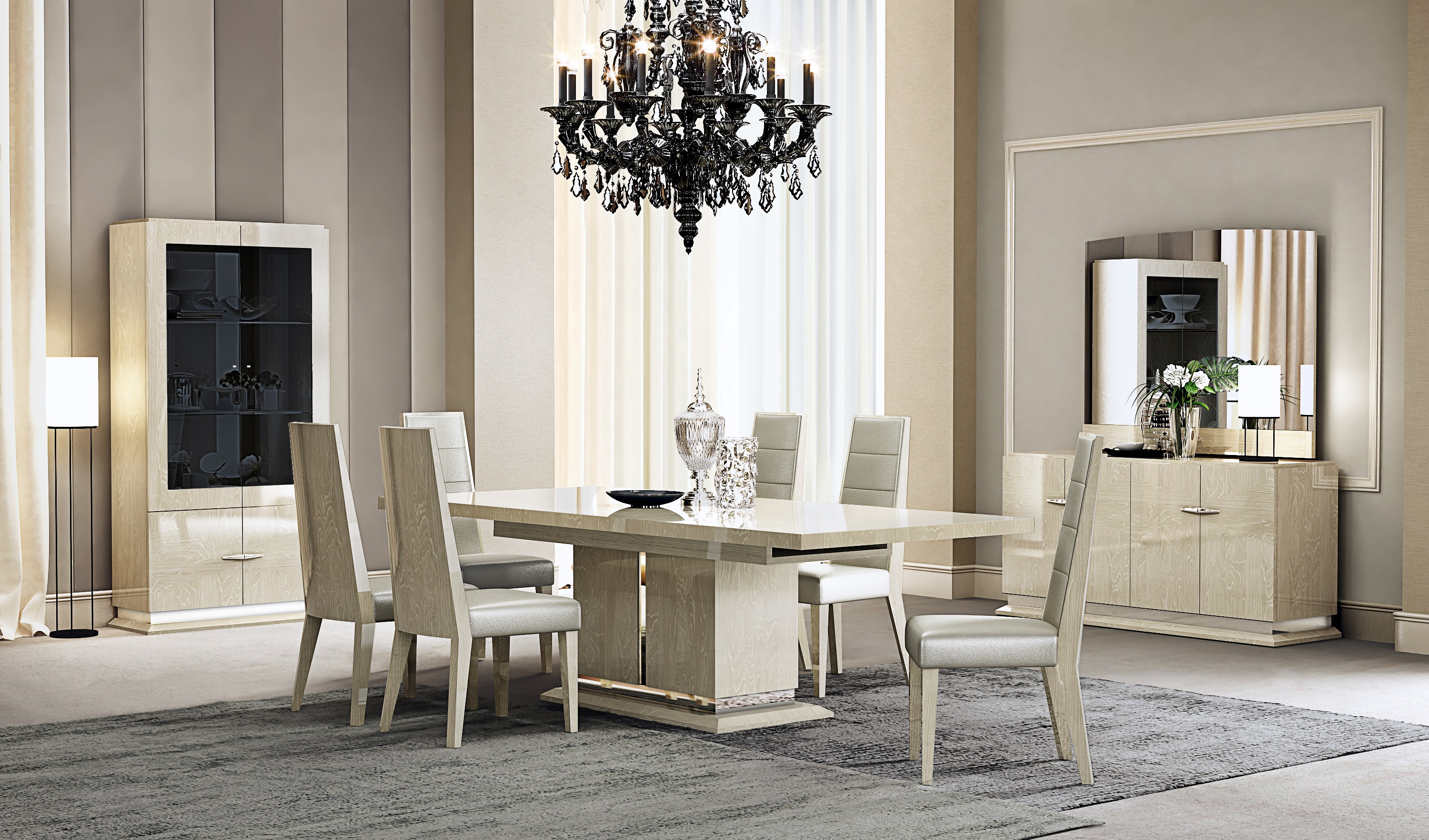 Elegant Rectangular Leather Breakfast Table Sets And