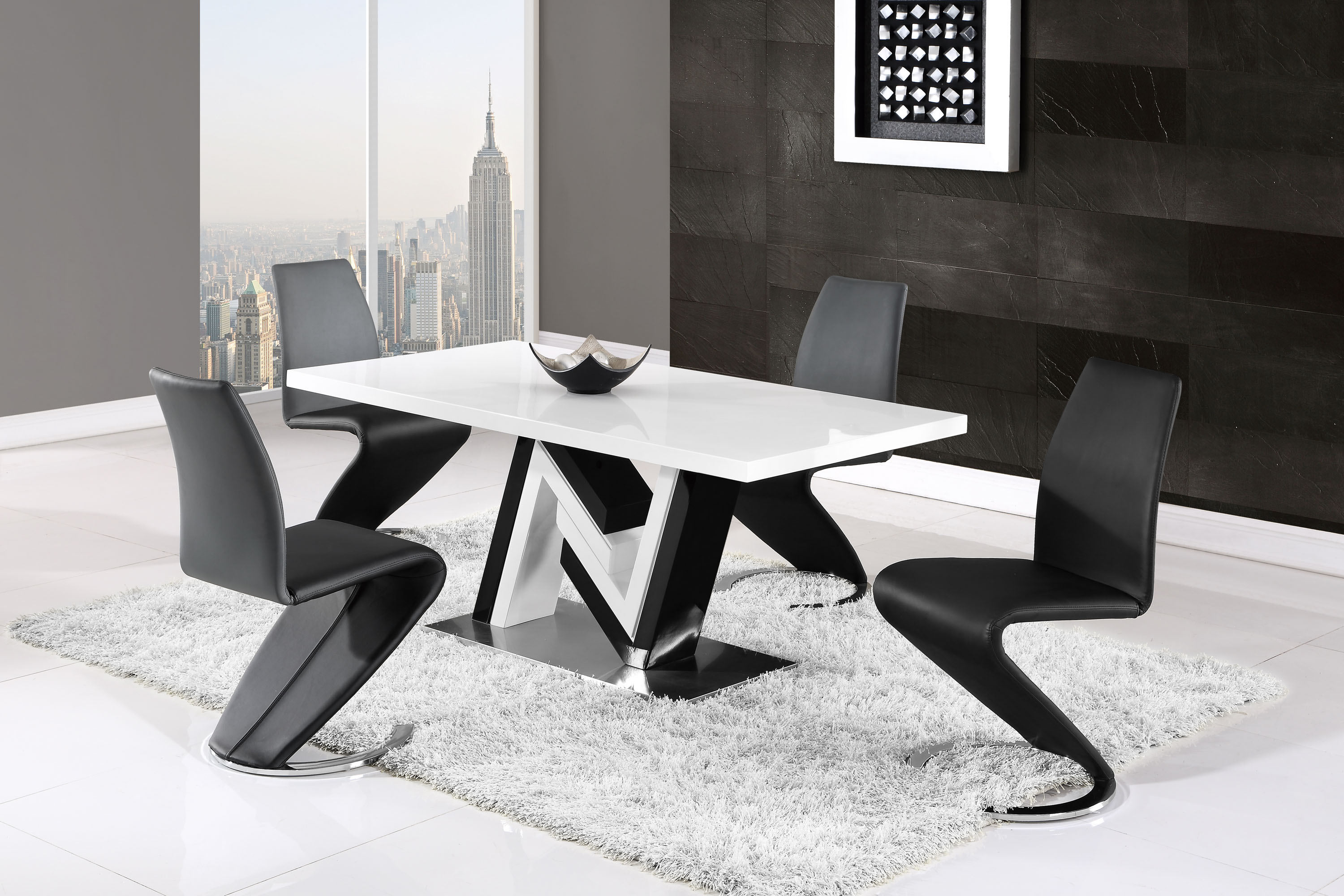 Modern Monochrome Dining Table And Side Leather Chairs