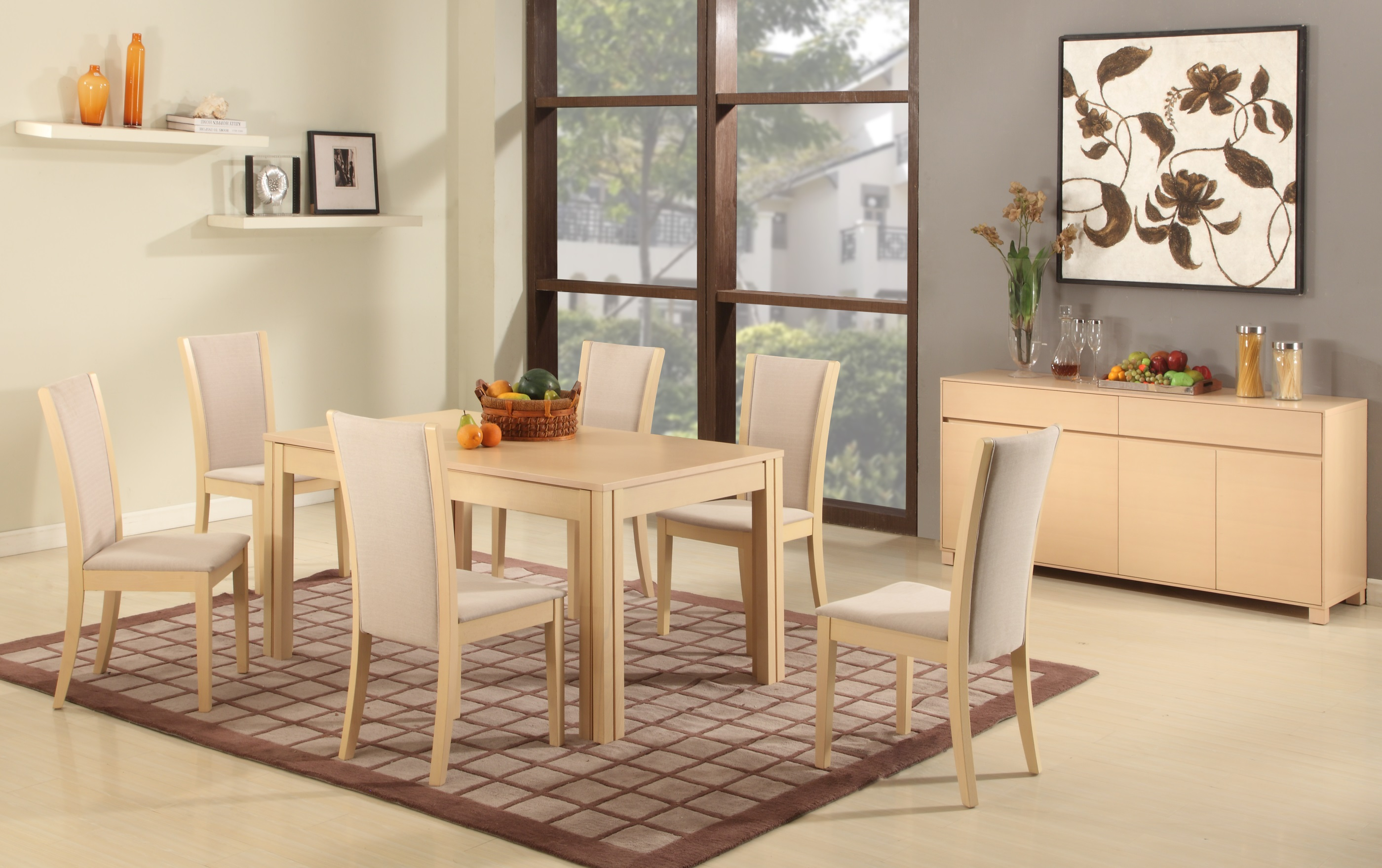 Extendable rectangular wooden and fabric seats designer for Light wood dining room sets