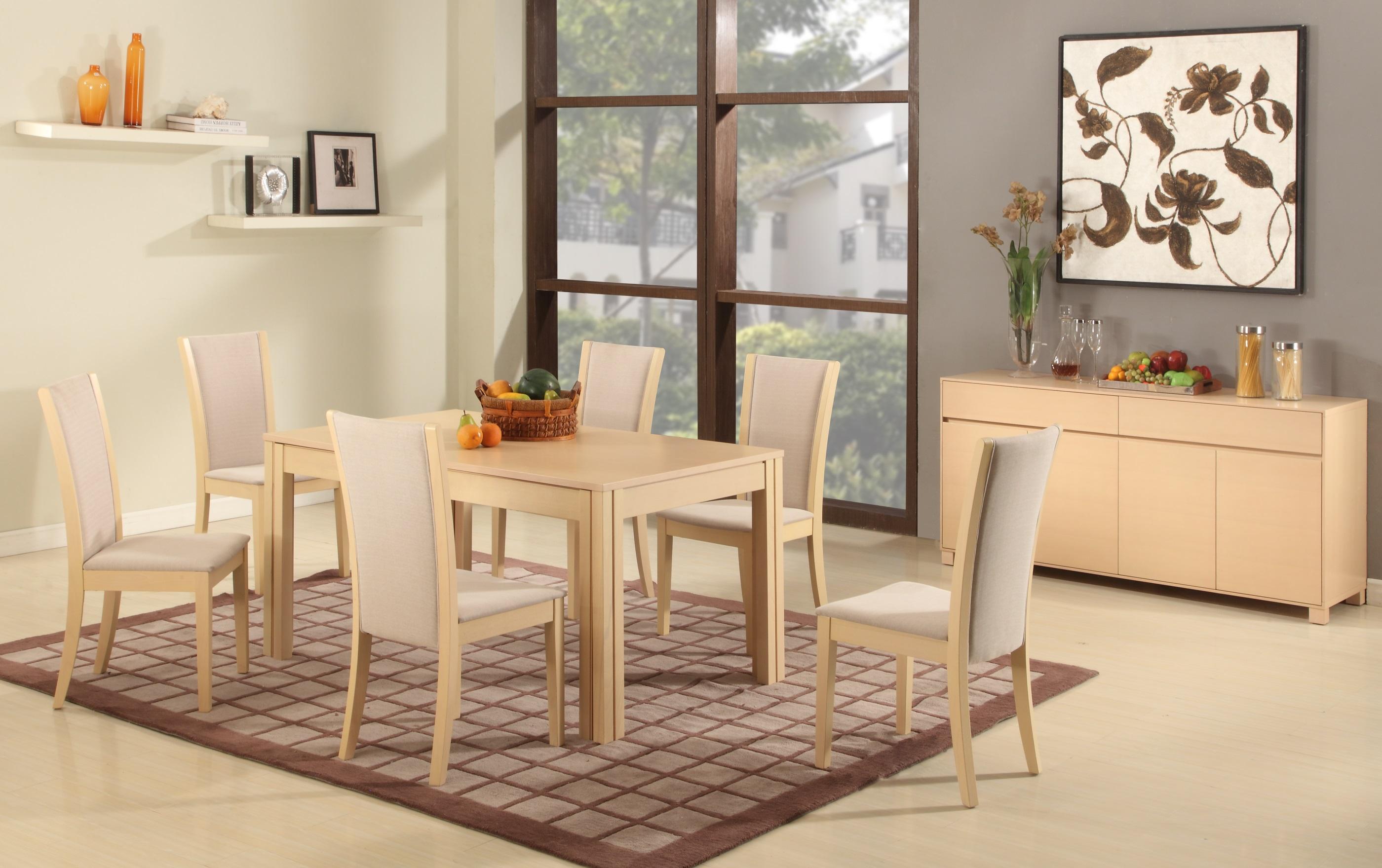 Extendable Rectangular Wooden And Fabric Seats Designer