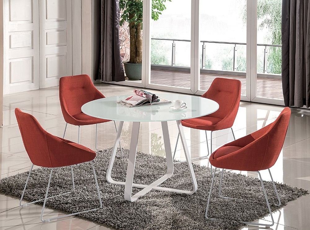 High class round multi colored with glass top fabric 5 pc for Multi coloured fabric dining chairs