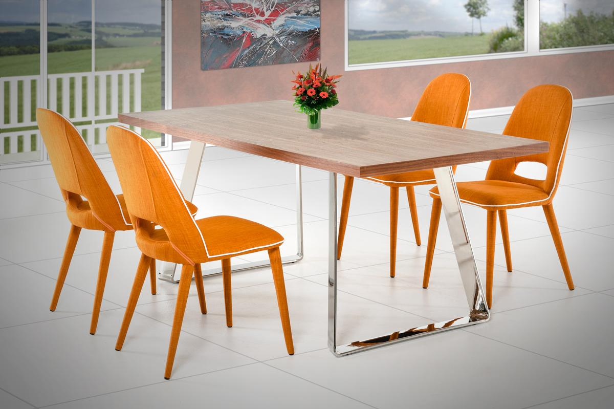 Elite Rectangular In Wood Fabric Seats Table And Four