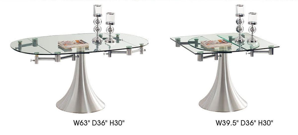 Extendable Oval Clear Dining Table And Chair Sets With