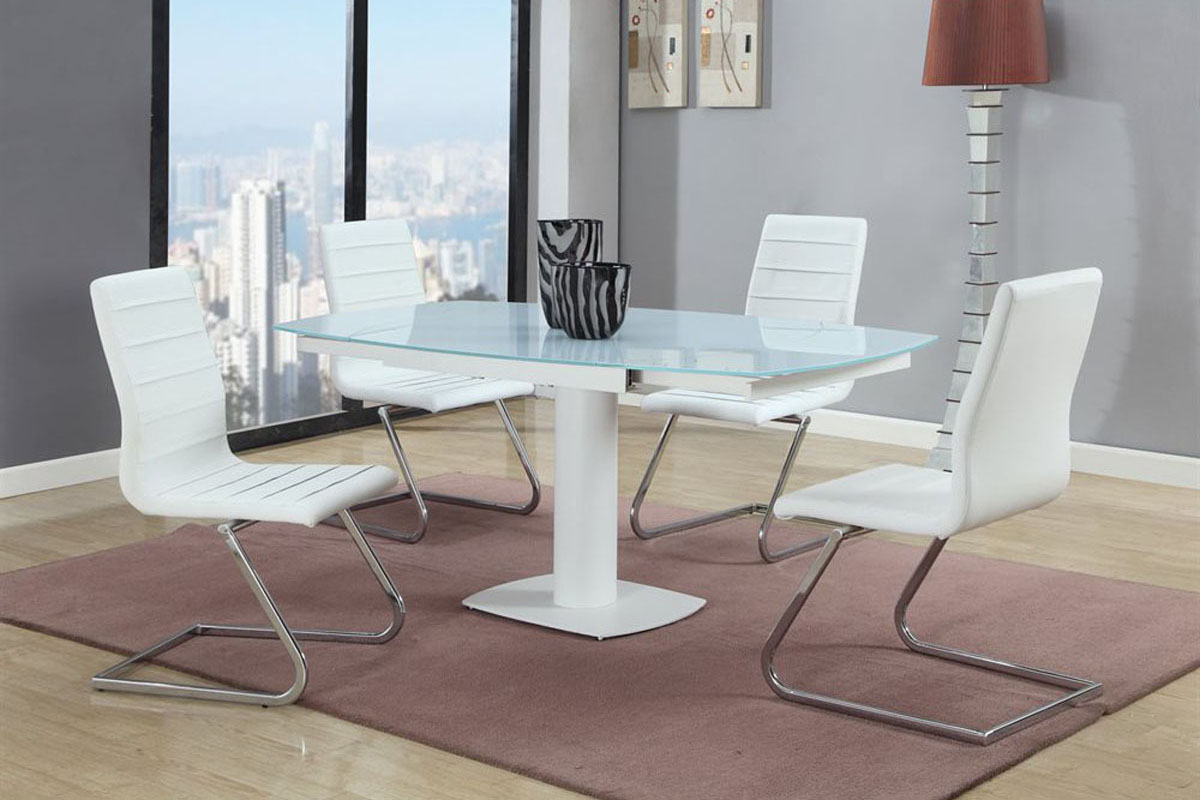 Stylish Rectangular Frosted Glass Top 5 pc Dinette Set Chicago ...