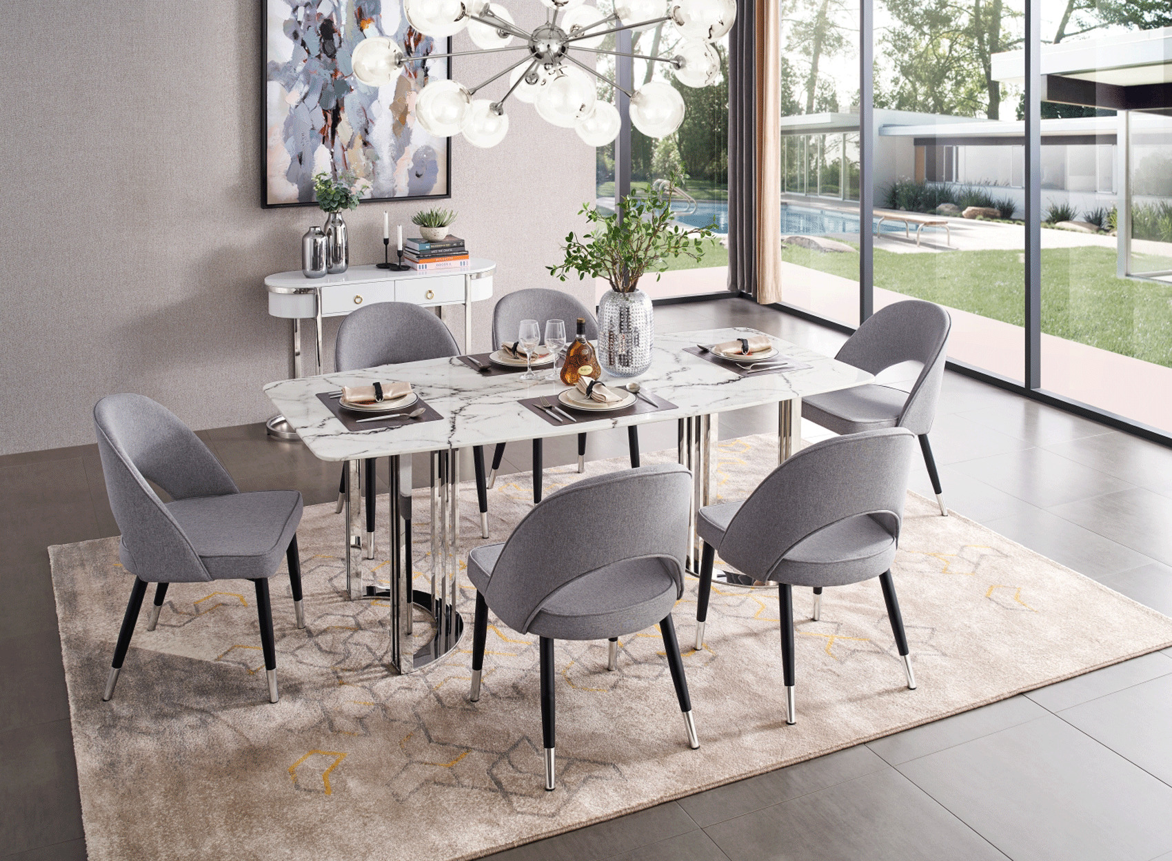 Natural White Marble Top And Chrome Legs Dining Table Detroit Michigan Esf 131 Silver Marble Dining