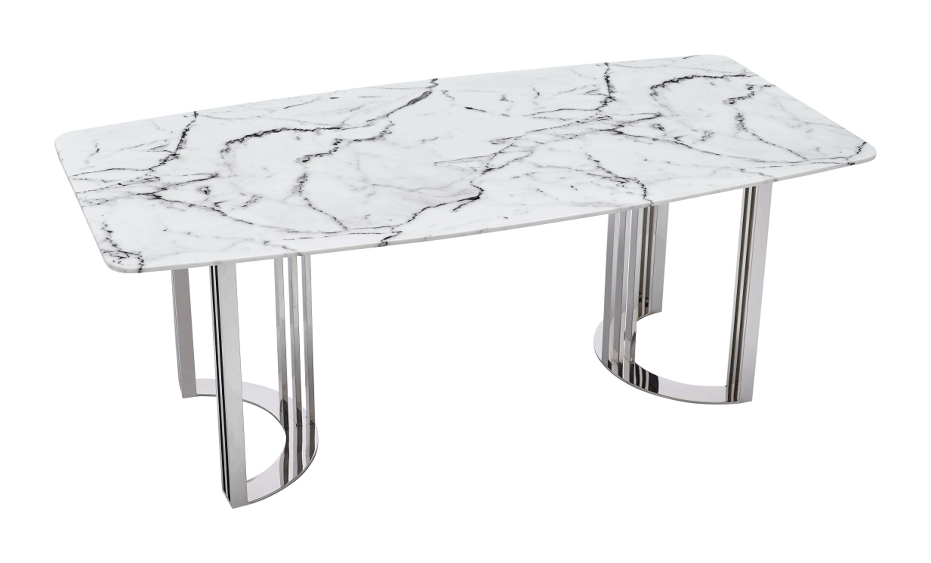 Natural White Marble Top and Chrome Legs Dining Table - Click Image to Close