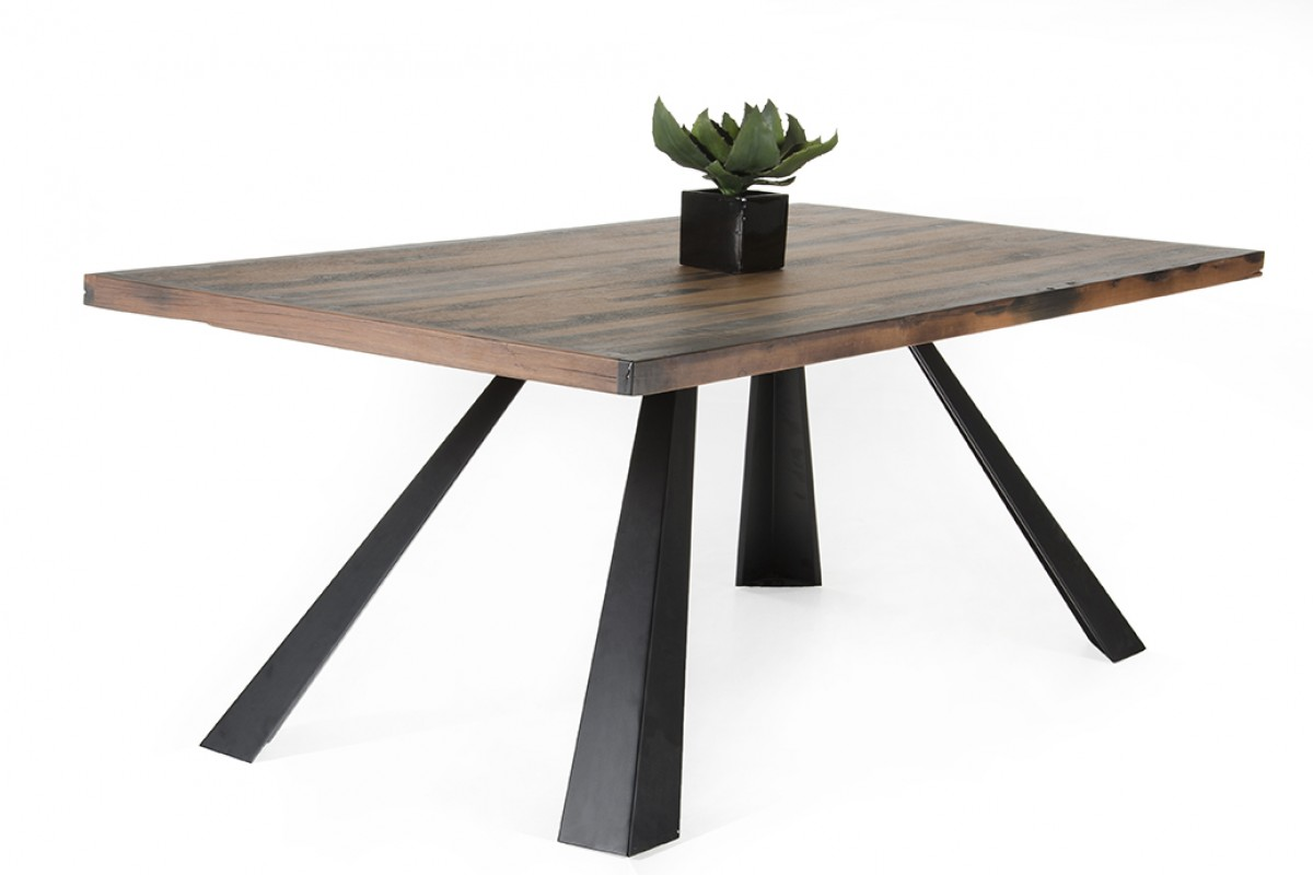 modern recycled ship wood dining table with black metal legs phoenix arizona vig norse cadre. Black Bedroom Furniture Sets. Home Design Ideas