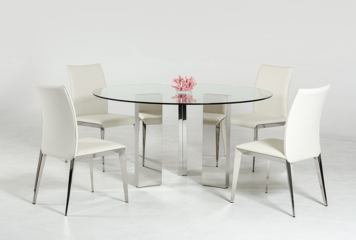 Modern round glass top dining table with stainless steel for Designer dinette sets