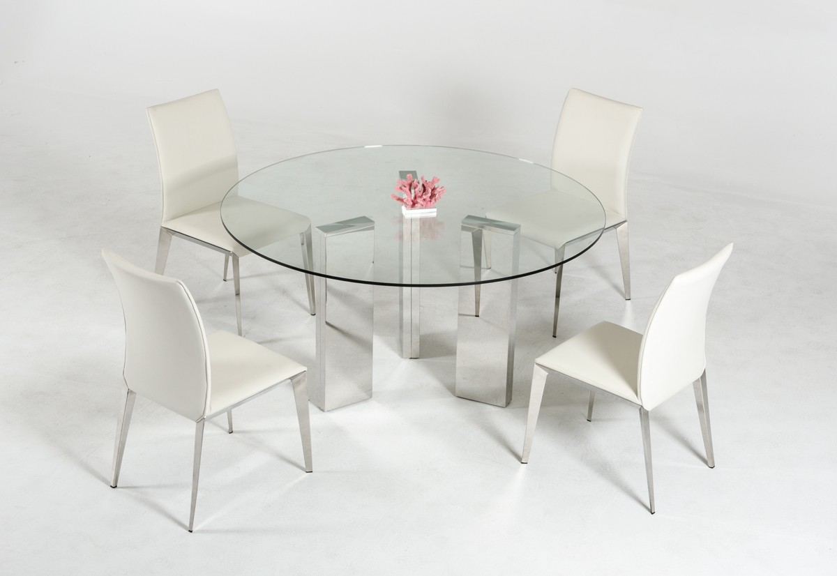 Modern round glass top dining table with stainless steel for Modern glass dining tables
