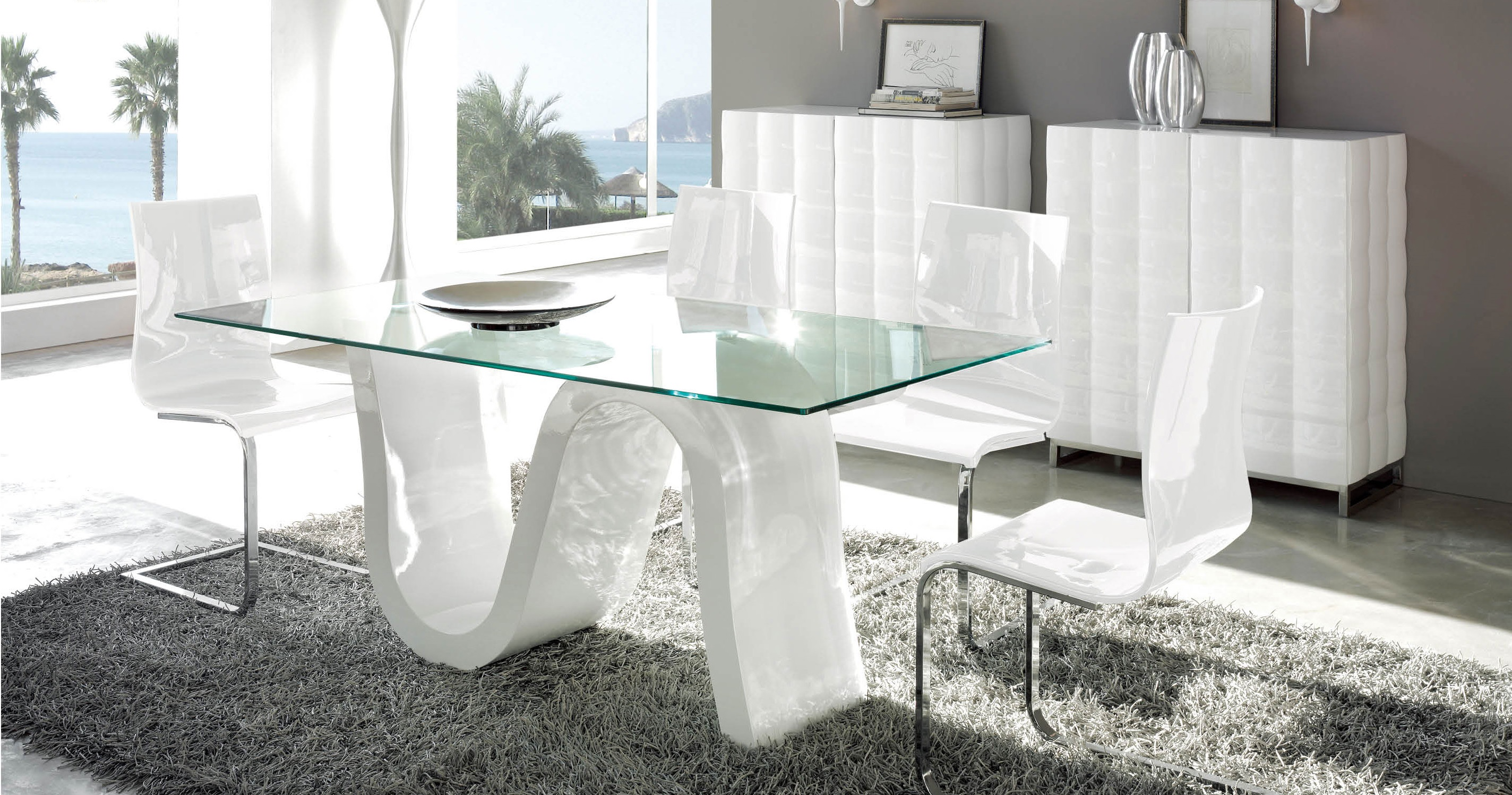 Contemporary rectangular glass top contemporary dining for Modern glass dining room