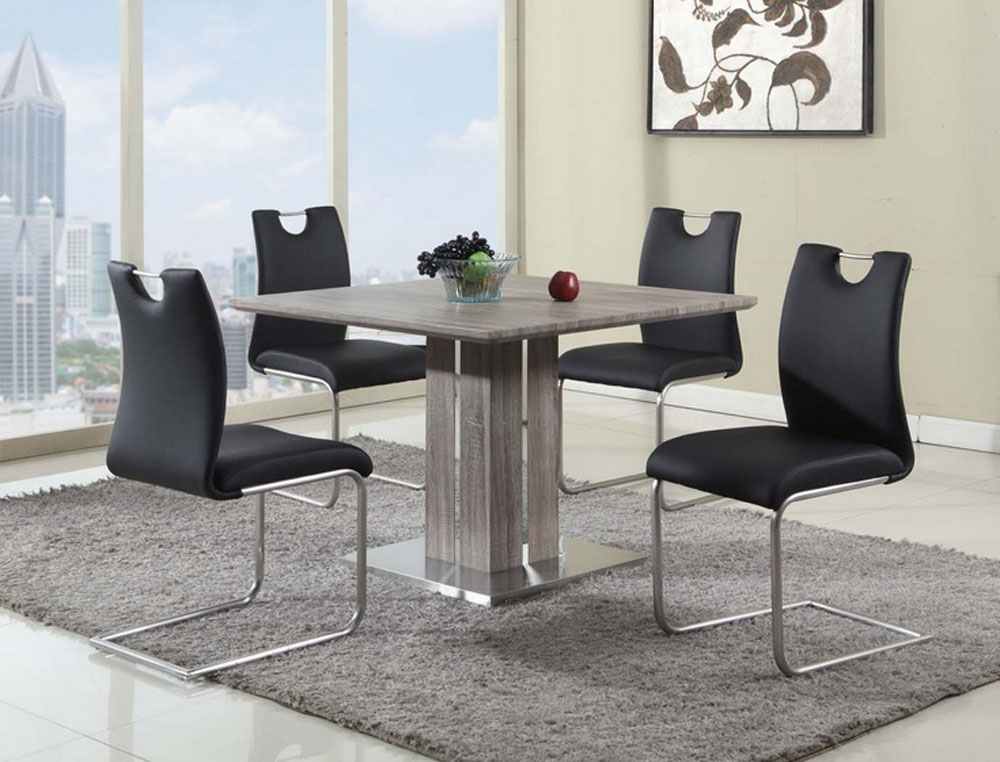 Exotic Sqaure In Wood Leather Kitchen Dinette Sets