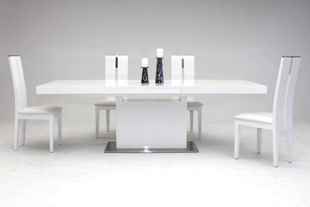 Elegant Stainless Steel Dining Set with High Gloss White ...