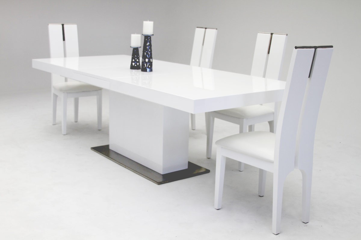 Magnificent Elegant Stainless Steel Dining Set With High Gloss White Finish Complete Home Design Collection Lindsey Bellcom