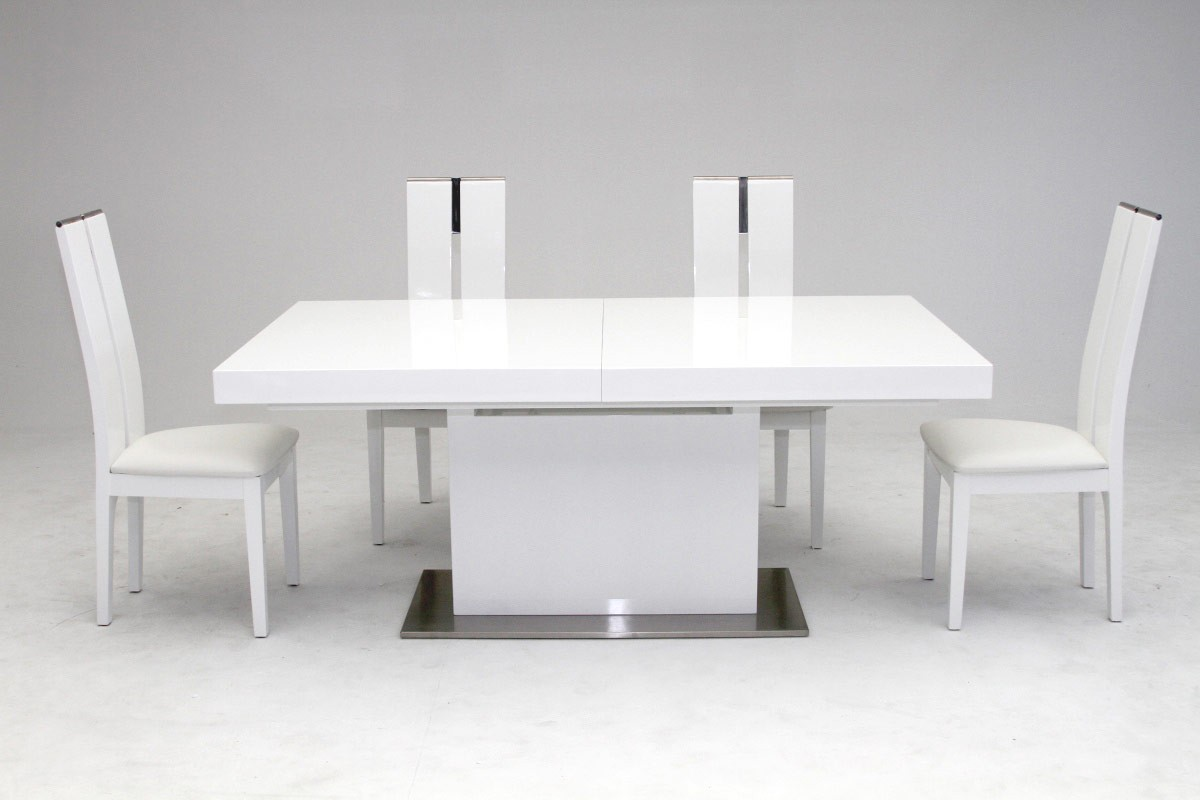 Elegant stainless steel dining set with high gloss white for New style dining table
