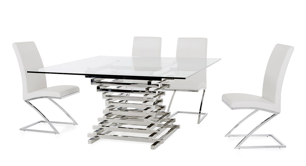 Pleasant Contemporary Steel Base Square Clear Glass Dining Table Ibusinesslaw Wood Chair Design Ideas Ibusinesslaworg