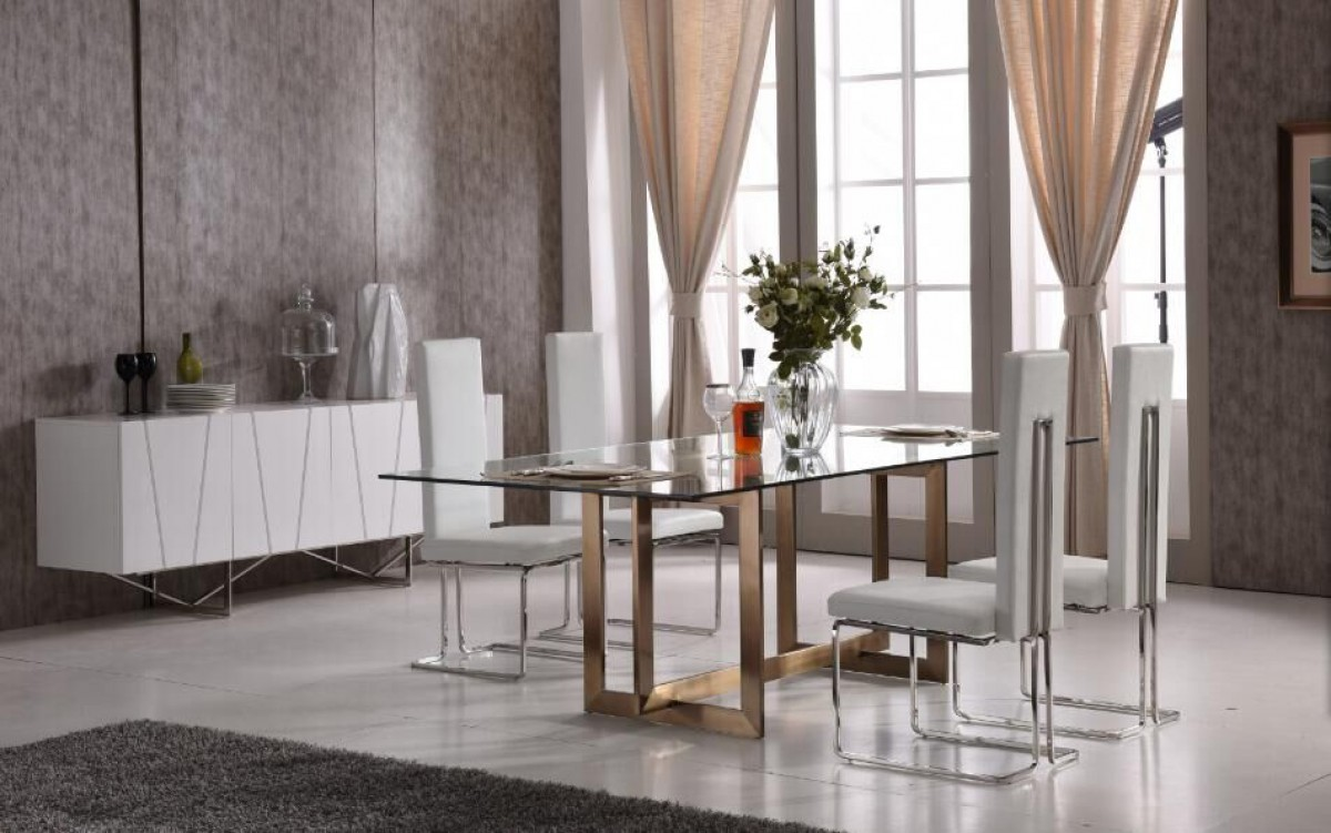 Modern Tempered Glass And Brass Dining Set Philadelphia