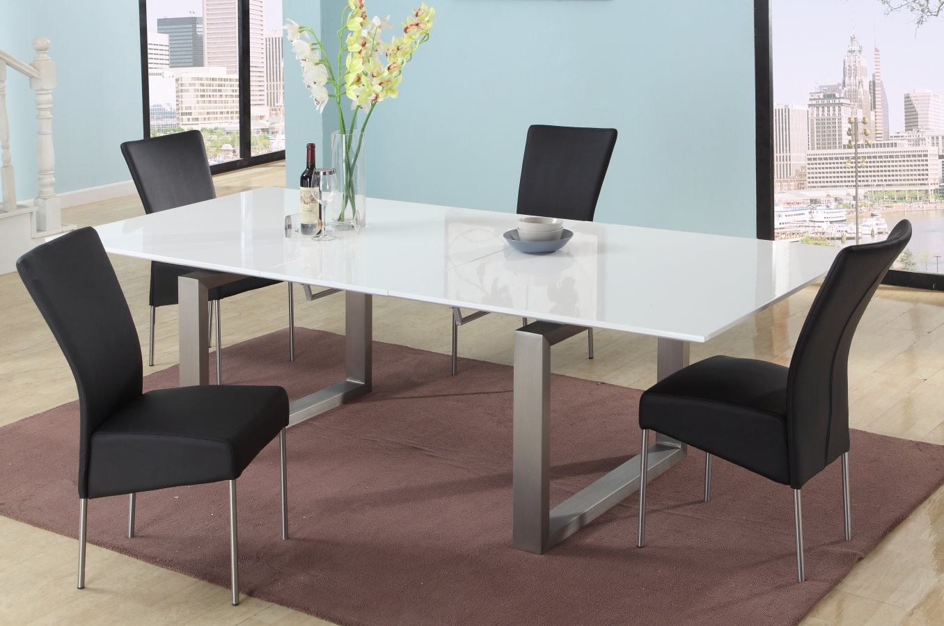 Elite rectangular metal with glass top dining set