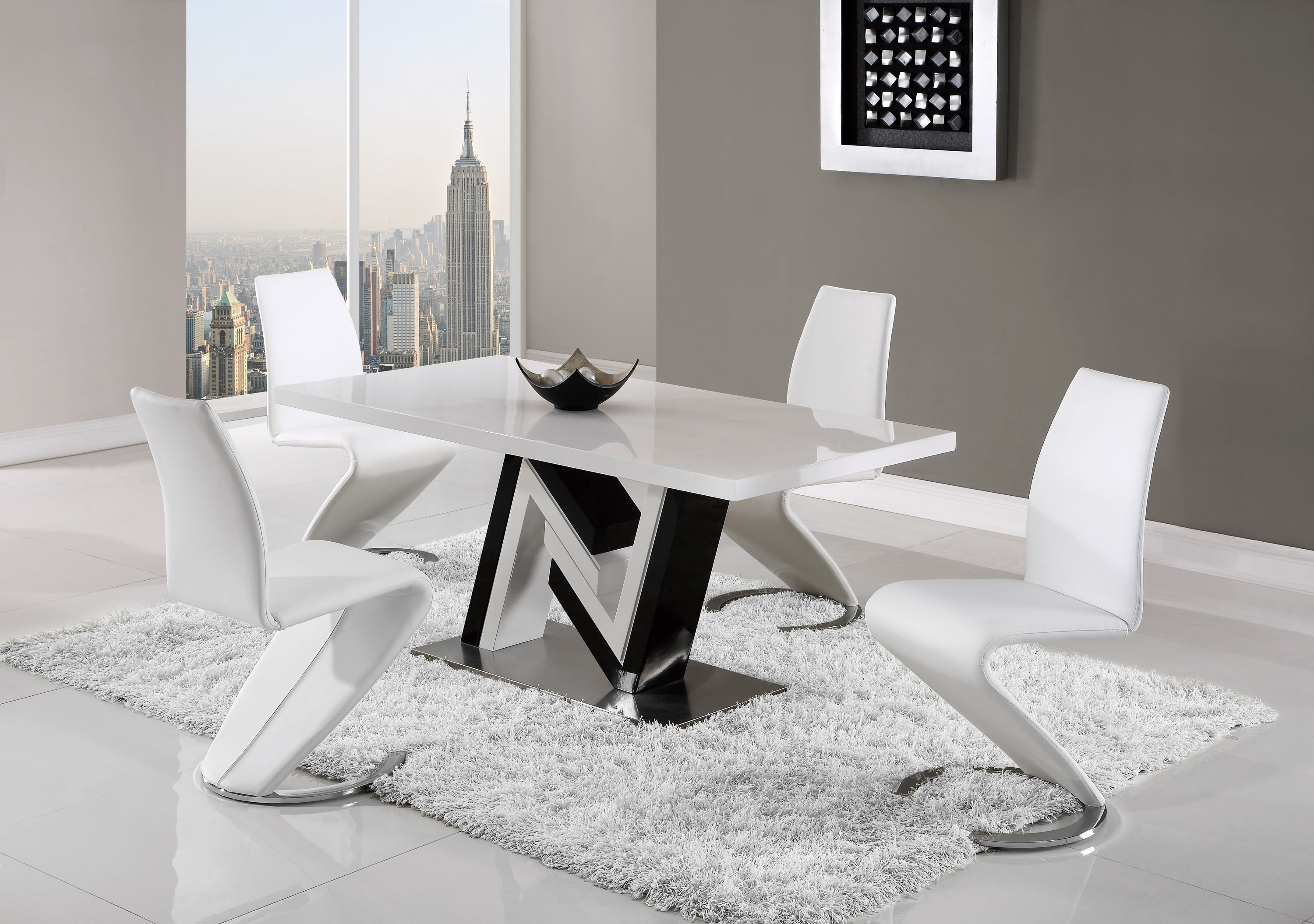 unique black and white table with curved white leather chairs milwaukee wisconsin gf d4163dt d9002dc. Black Bedroom Furniture Sets. Home Design Ideas