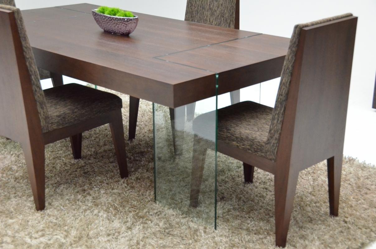 Graceful Rectangular In Wood Top Fabric Seats Modern
