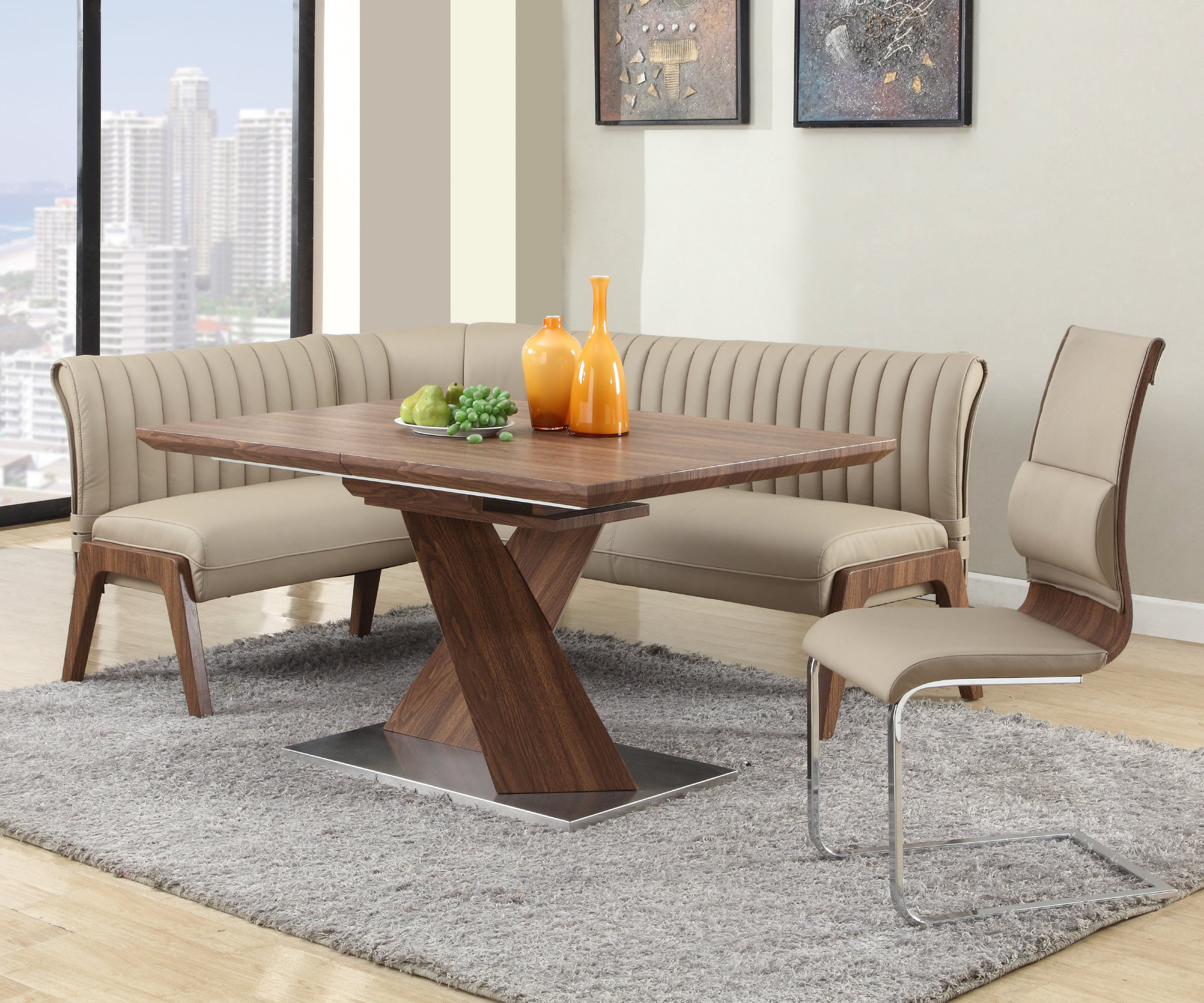 Extendable in wood leather furniture dining room sets with for Leather dining room sets