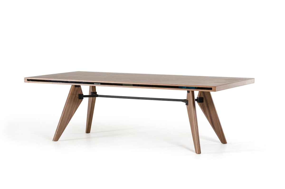 Modern Walnut Dining Table With Side Gl Accents Larger Image