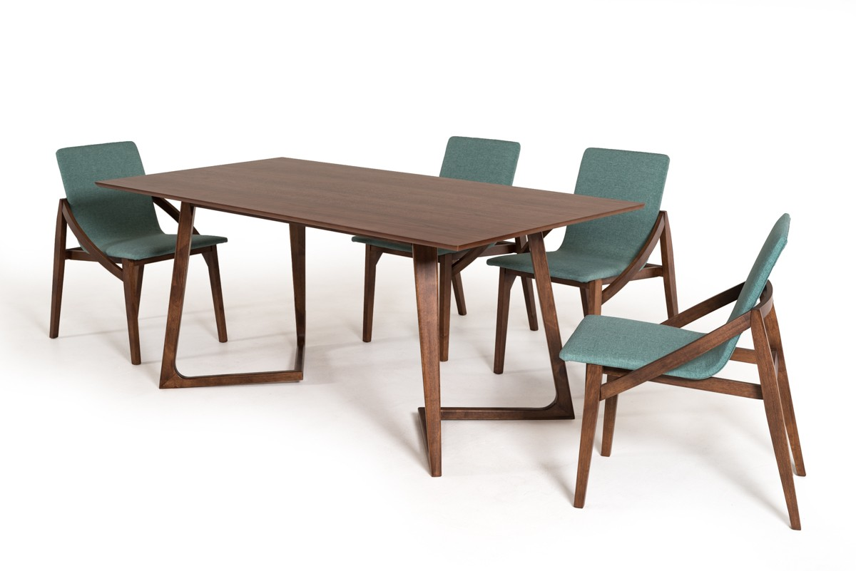 Contemporary scandinavian style walnut dining set san for Contemporary dining set