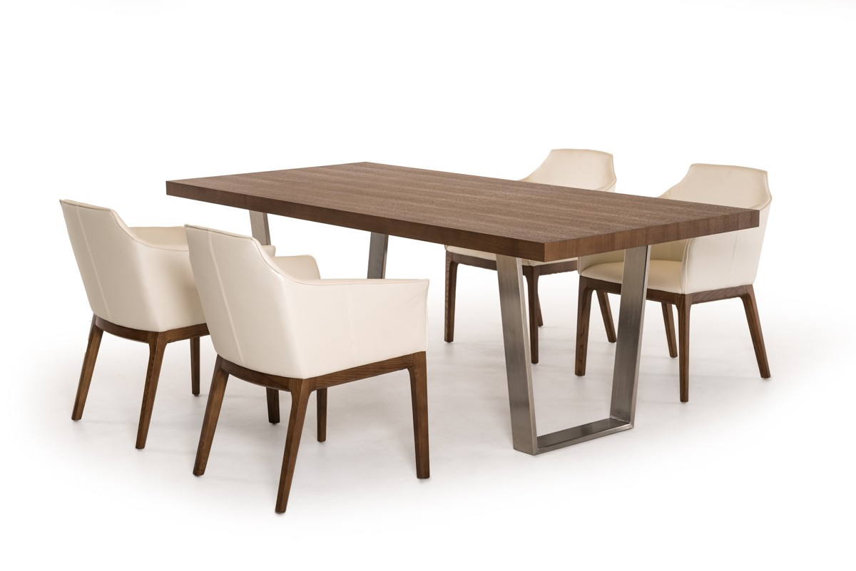 Ash Walnut And Brushed Stainless Steel Legs Dining Set