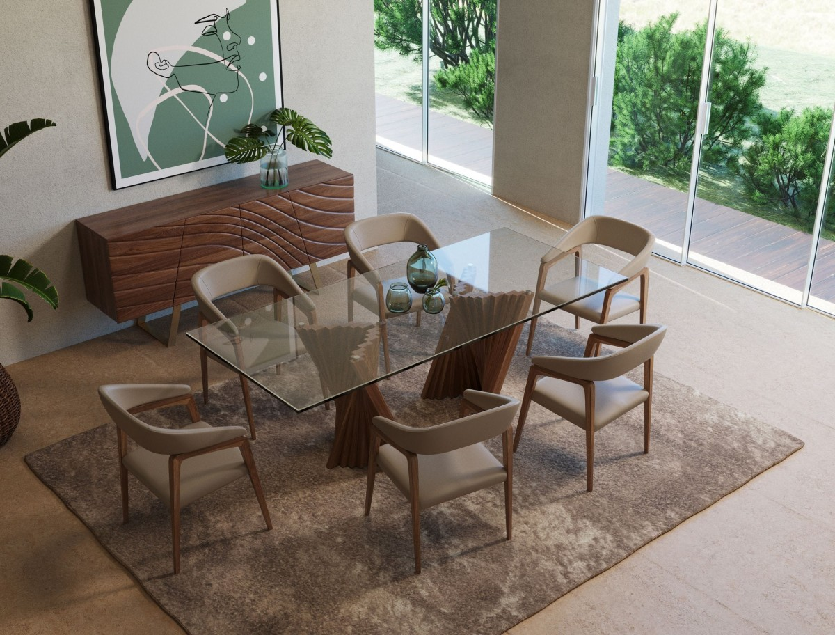Sophisticated Walnut And Tampered Glass Dining Table