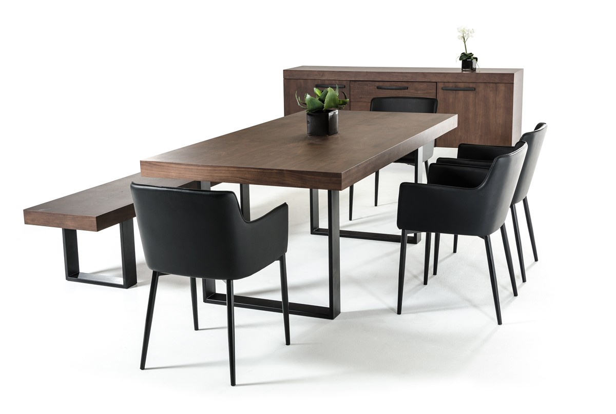 Classic Walnut Veneer And Black Metal Base Dining Table