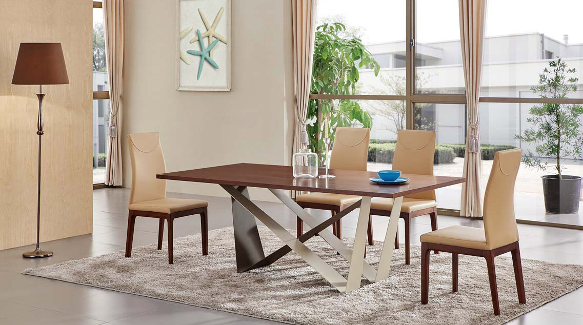 Exotic Rectangular In Wood Top Leather Dining Room Furniture Chicago Illinois Esf 1533 Table