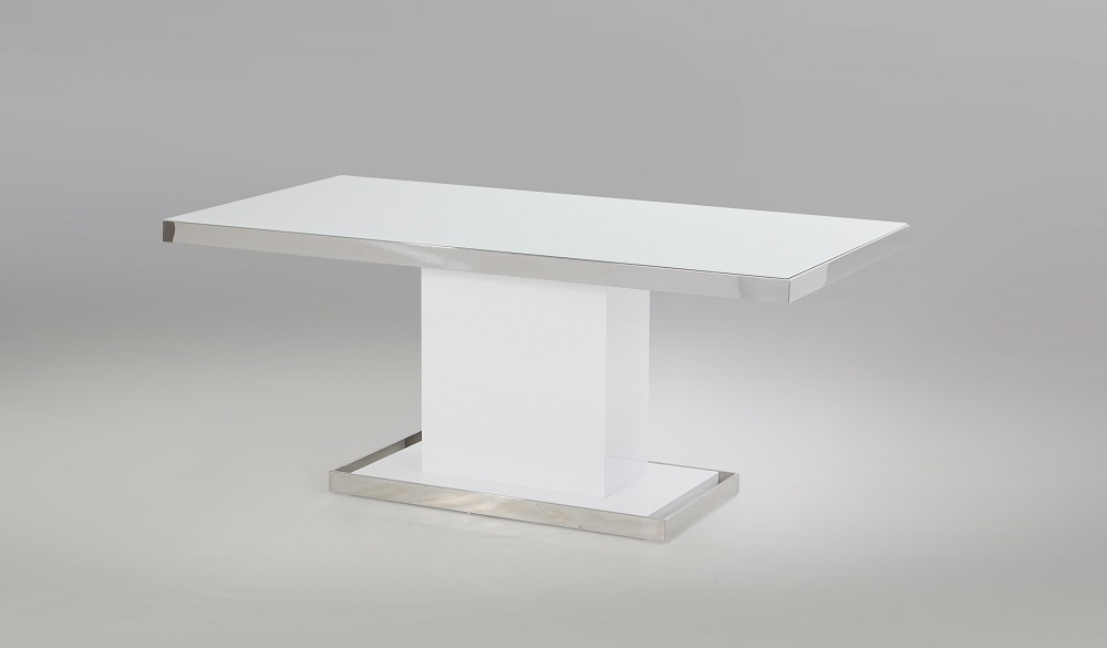 High End Rectangular Wooden And Frosted Glass Top Leather