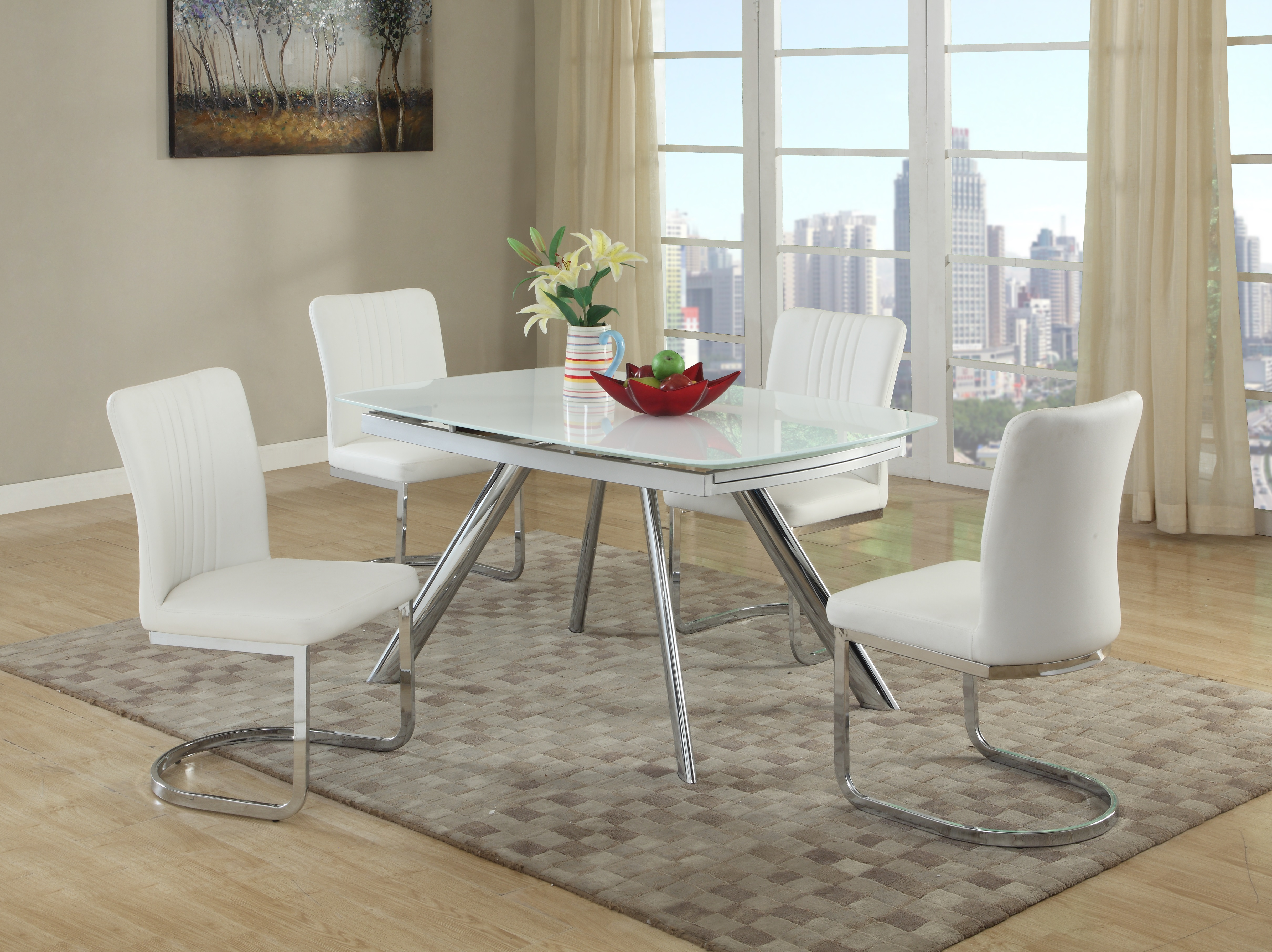 Extendable rectangular glass top leather five piece dining for Dining sets nashville tn