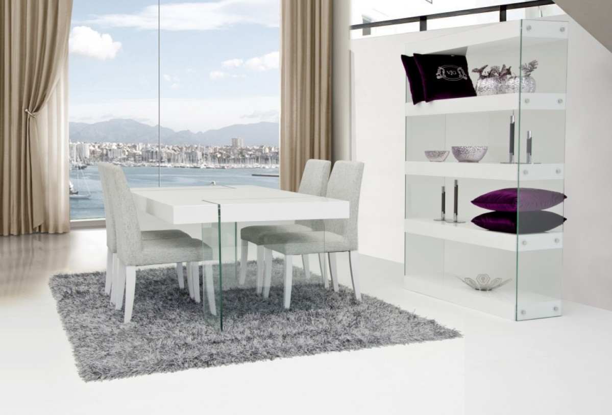 Dining Sets With Chairs Contemporary White Gloss Top Floating Table