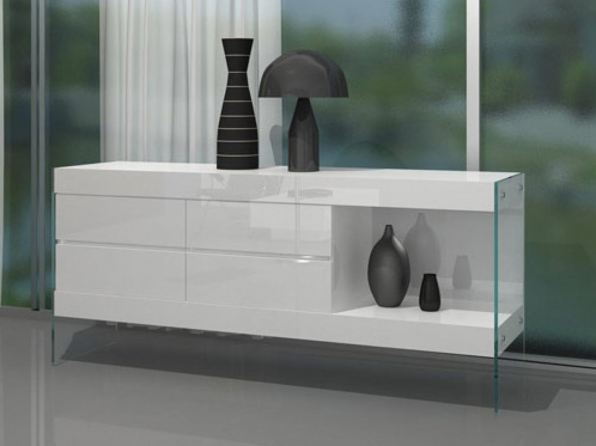 Contemporary White Gloss Top Floating Dining Table Detroit