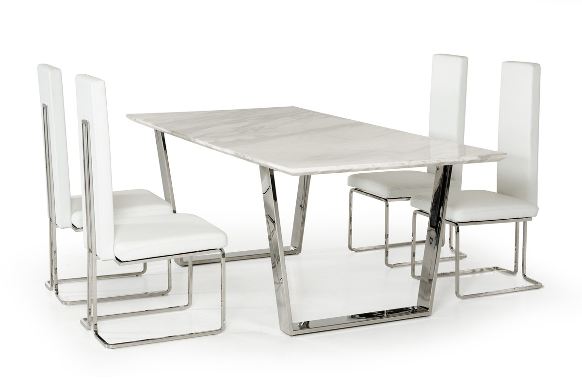 Dining Sets With Chairs Natural White Marble Top And Chrome Legs Table