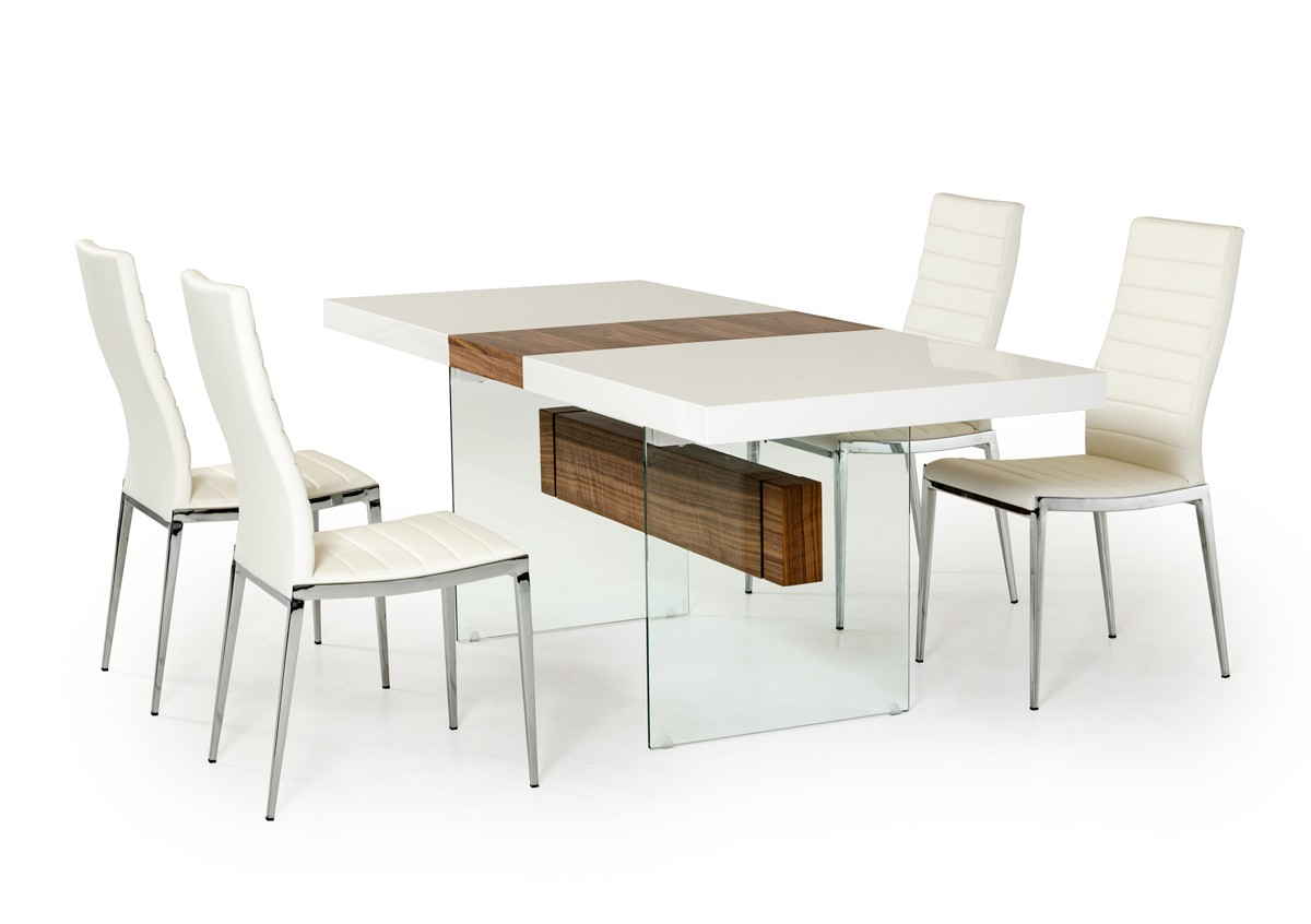 White and walnut floating extendable dining table dallas for Modern dining table and chairs set