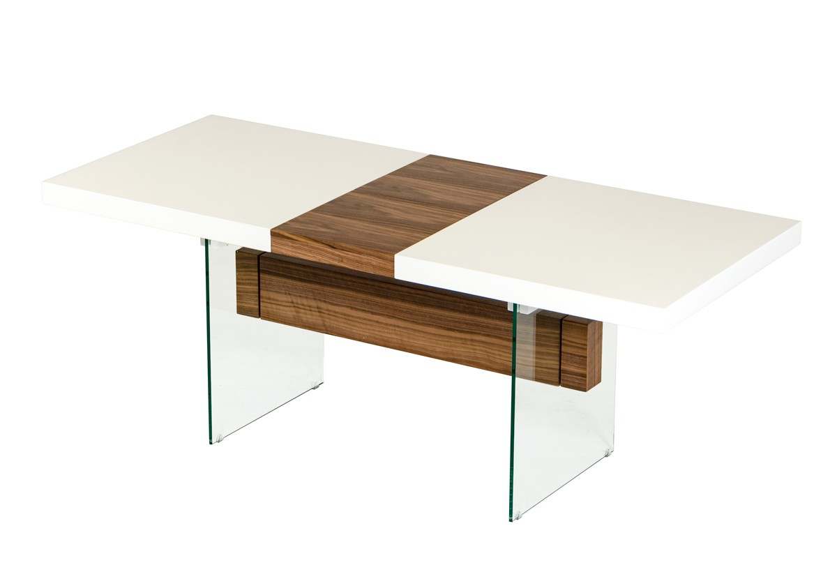 White And Walnut Floating Extendable Dining Table Dallas Texas Vig Sven Libby