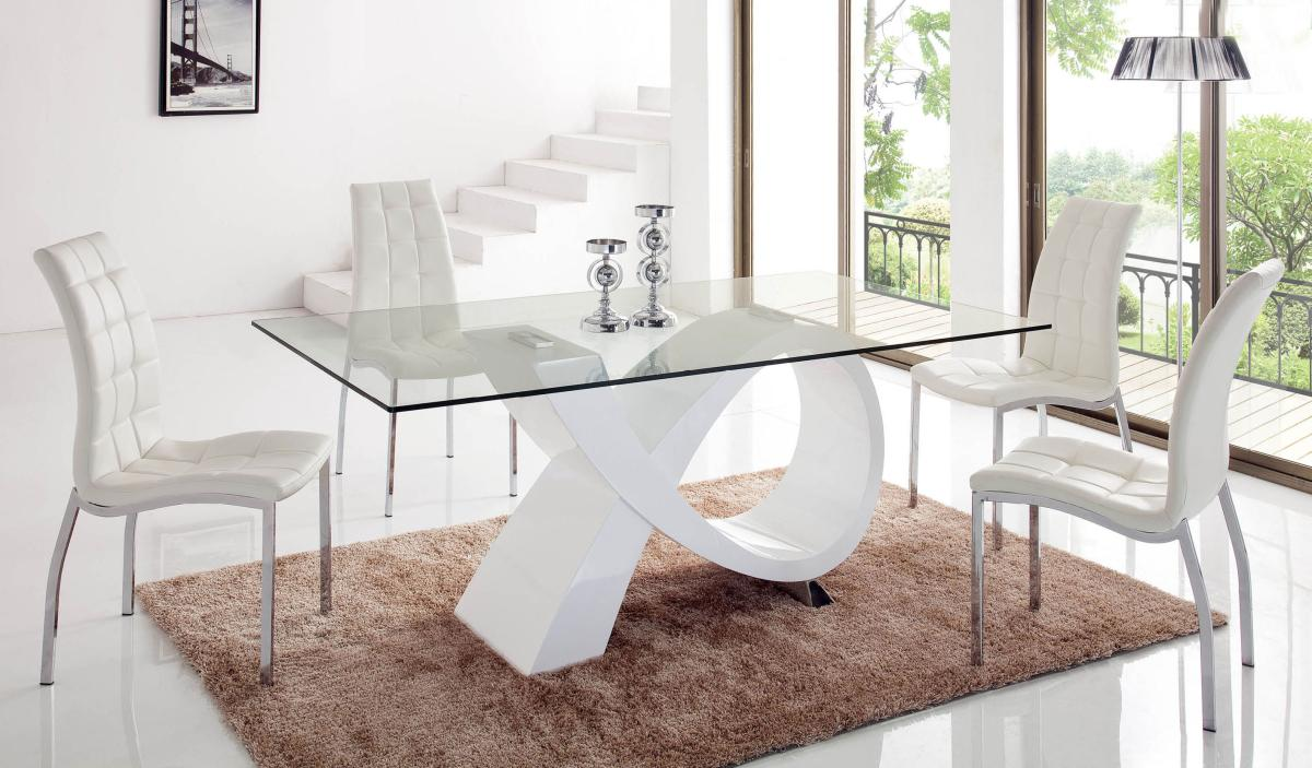 Unique rectangular in wood clear glass top dining room for Unique dining table sets