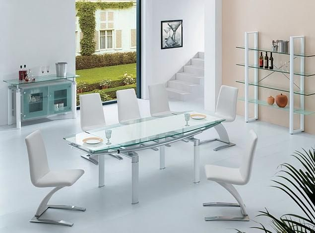 108 DT Glass Dining Room Table in Black White or Beige