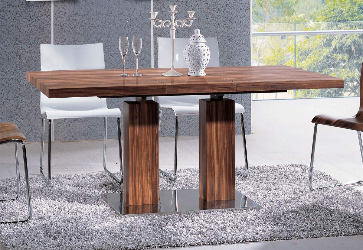 Versatile transitional durably scaled dining room table for Dining room table pedestal bases