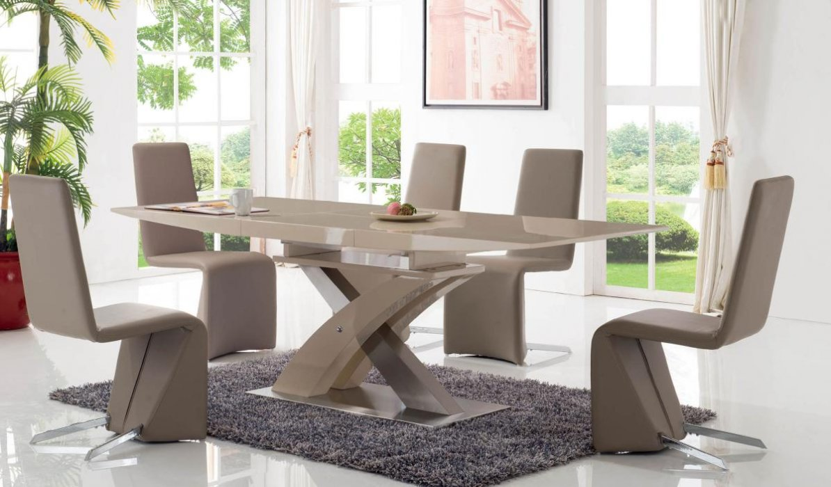 Rectangular Extendable Dining Table In Beige Lacquers