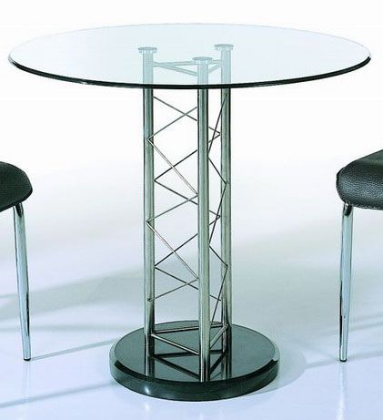 Round Glass Dining Table With Black Marble Base Grand Rapids Michigan BHDT119