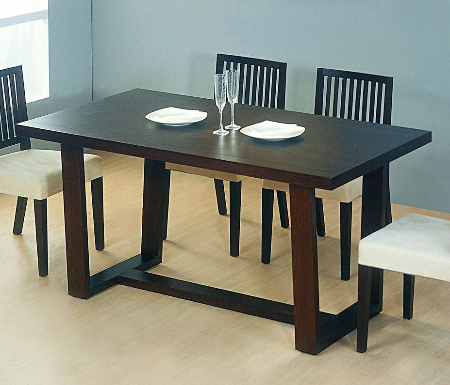 High End Dining Room Furniture Brands: Sullivan Wooden Contemporary Dining Table With Arch Legs San Diego California BHREFUGE